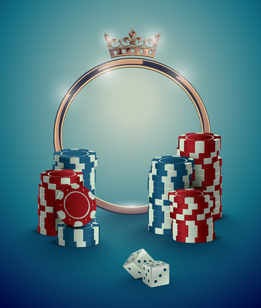 Round casino roulette golden frame with crown, stack of poker chips and white dice on deep turquoise background. Gambling online club vintage effect poster design. Illustration