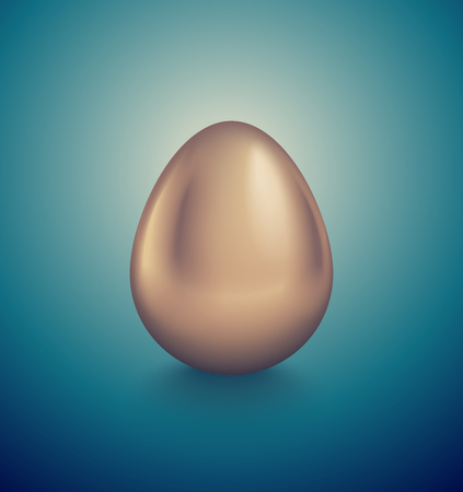 Glossy golden egg. Turquoise deep retro background. Vintage banner, card, poster for Easter, business benefit concept.