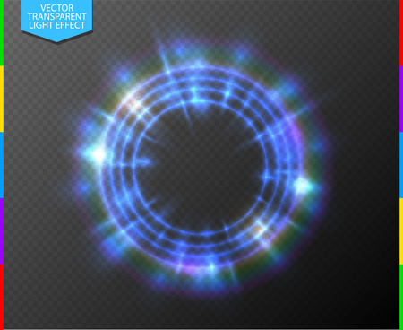 web portal: Abstract semitransparent blue light neon line glowing ring with colorful spotlight. Magic portal on transparent background. Glow translucent special effect