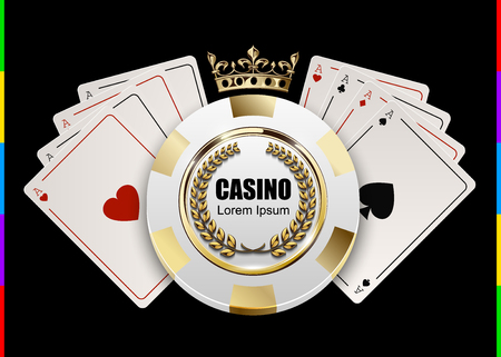 VIP poker luxury white and golden chip in golden crown with ace card. Illustration