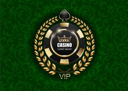 VIP poker luxury black and golden chip vector casino logo concept.