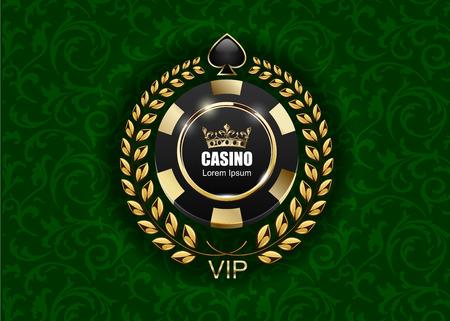 VIP poker luxury black and golden chip vector casino logo concept. Reklamní fotografie - 73712380