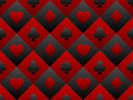 Black and red seamless pattern fabric poker table. Minimalistic casino. Illustration