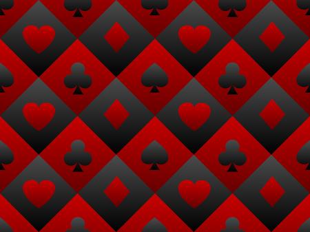 Black and red seamless pattern fabric poker table. Minimalistic casino. Vettoriali