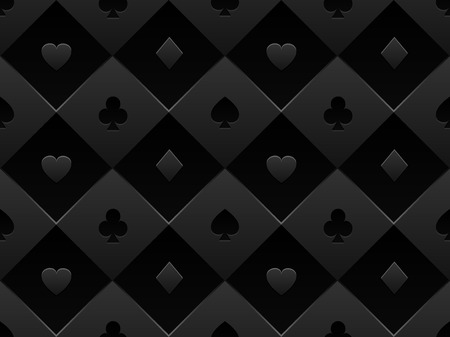 Black seamless pattern fabric poker table. Minimalistic casino vector 3d background with texture composed from volume card symbol Vectores