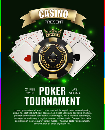 VIP poker luxury black and golden chip, golden crown with ace card vector casino poster concept. Royal poker club tournament banner with laurel wreath, ribbon, spade, light effect on green background