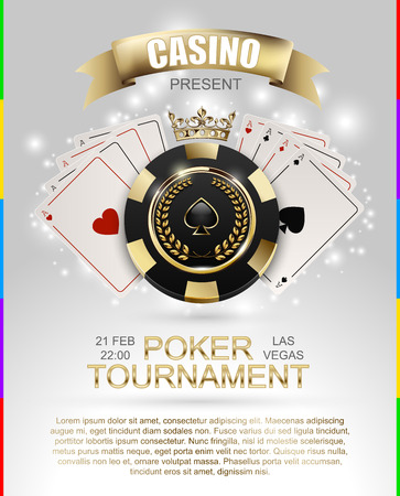 VIP poker luxury black and golden chip, golden crown with ace card vector casino poster.