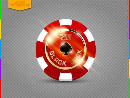 VIP poker red and white chip with light effect vector. Black jack poker club casino.