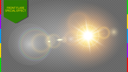 Abstract golden front sun lens flare translucent special light effect design. Illustration