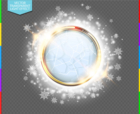 Abstract luxury chrome metal ring with white glass ball. Vector light circles, snowflakes and spark light effect. Sparkling glowing round frame on transparent. Winter Christmas or New Year background Illustration