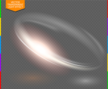 Circular lens flare transparennt light effect. Abstract galaxy. Beautiful ellipse border. Luxury shining hole. Rotational glow line. Power energy element. Space for message. 3D illustration. Glowing ring trace background. Round shiny frame. Vector circle.