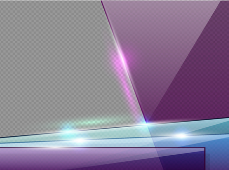 Transparent violet, blue and green glass plates with spotlight, shadow and hotspot flare web page. Banner template or presentation frame. Modern background