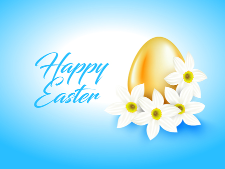 greeen: Orange color egg and white narcissus flower on light blue background. Bright greeting card with Happy Easter text. Simple design.