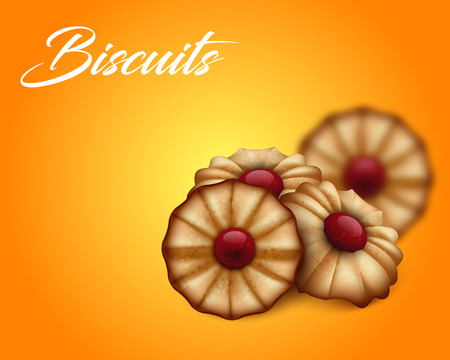 buttery: Buttery cookies with red jam on bright orange and yellow background.