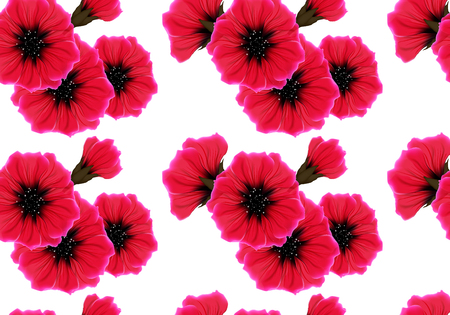 Floral seamless pattern with red flower and pink petal on white. Bright vivid color repeating passion background. Wrapping paper or cloth design.