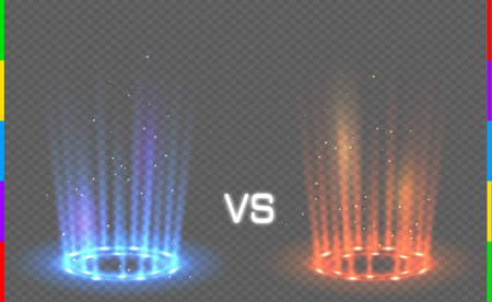 Versus round blue and red glow rays night scene with sparks on transparent background. Light effect podium. Disco club dance floor. Beam stage. Magic fantasy portal. Futuristic hot and cold teleport. Illustration