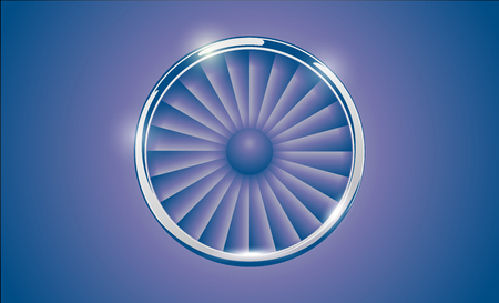 Jet Engine Turbine with chrome ring in retro violet blue color style. Detailed Airplane Motor Front View.