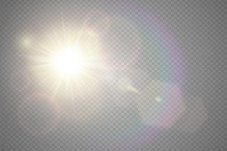 黄金のフロント太陽レンズ フレア半透明の特別な照明効果のデザインを抽象化します。ベクトルは、モーションの輝きのまぶしさでぼかし。孤立し