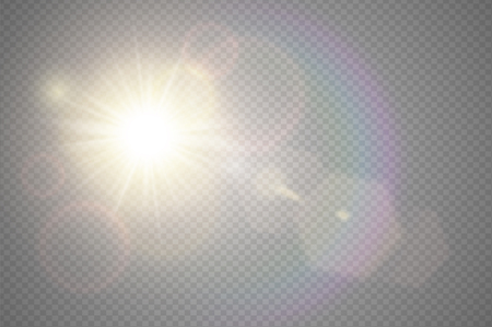 Abstract golden front sun lens flare translucent special light effect design. Vector blur in motion glow glare. Isolated transparent background. Horizontal star burst rays spotlight. Banco de Imagens - 83596961
