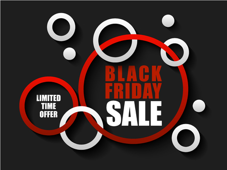 Black Friday sale banner with red and white rings. Limited time offer on dark background. Text for advertising banner.