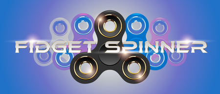 Black fidget finger spinner horizontal web banner with white text. Stress relief hand toy with light effect flare. Vector for label, advertisement, brochure. Retro style purple background. Illustration