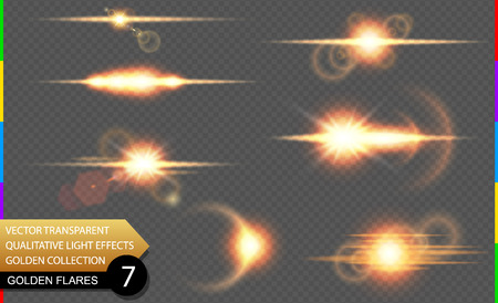 semitransparent: Isolated golden lens flare line. Glow transparent vector light effect set, explosion, sun flash, and star burst. Abstract translucent special element design. Shine semitransparent space comet. Illustration