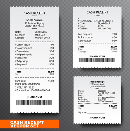 Establecer verificación de papel, recibo y verificación financiera aislado en el fondo transparente. El recibo impreso registra la venta de bienes o la provisión de un servicio. Bill atm plantilla con código de barras. Ilustración vectorial