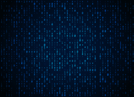 Vector binary code dark blue background. Big data and programming hacking, deep decryption and encryption, computer streaming numbers 1,0. Coding or Hacker concept.