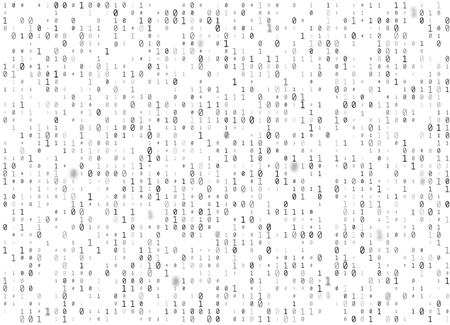 Vector binary code white seamless background. Big data and programming hacking, decryption and encryption, computer streaming black numbers 1,0. Coding or Hacker concept texture or web page fill.