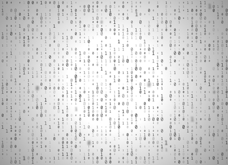Vector binary code white background. Big data and programming hacking, decryption and encryption, computer streaming black numbers 1,0. Coding or Hacker concept.