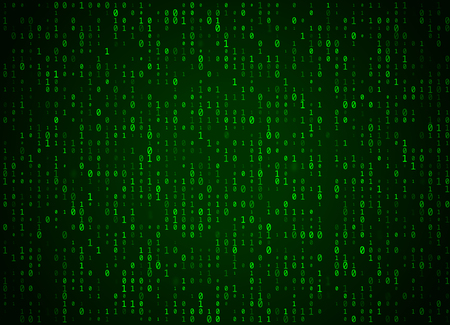 Vector binary code green background. Big data and programming hacking, deep decryption and encryption, computer streaming numbers 1,0. Coding or Hacker concept.