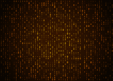 Vector binary code golden background. Big data and programming hacking, deep decryption and encryption, computer streaming numbers 1,0. Coding or Hacker concept.