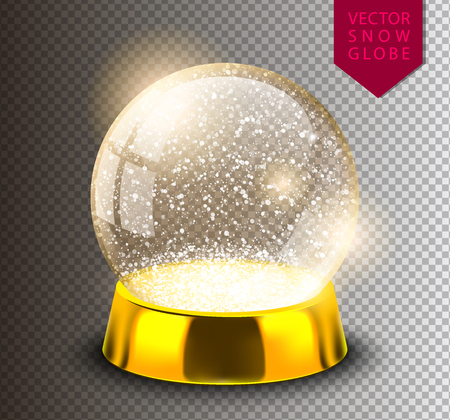 Snow globe empty template isolated on transparent background. Christmas magic ball. Realistic Xmas snowglobe vector illustration. Winter in glass ball, crystal dome icon snowflake and golden stand. Illustration