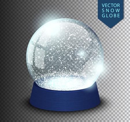 Śnieżnej kuli pusty szablon na białym tle na przezroczystym tle. Bożenarodzeniowa magiczna piłka. Realistyczne Boże Narodzenie snowglobe ilustracji wektorowych. Zima w szklanej kuli, kryształowej kopuły ikona śnieżynka i niebieski stojak.