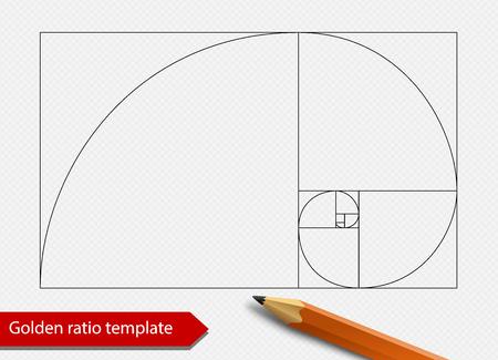 Goldene Verhältnislinie Diagrammschablonen-Vektorillustration. Fibonacci-Spiralenproportions-Formsymbol. Getrennt auf transparentem Hintergrund.