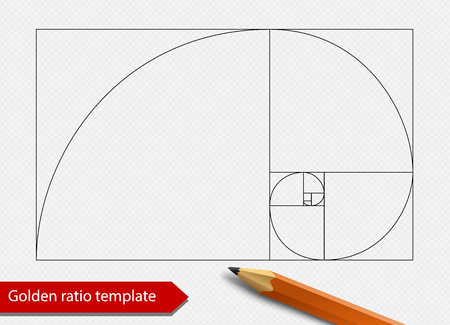 Golden ratio line graph template vector illustration. Fibonacci spiral proportion shape symbol. Isolated on transparent background.