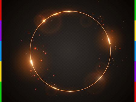 Marco de oro del vector con la llamarada efecto de luz y brillante brillo brillante . decoración del brillo del brillo del arco aislado en fondo transparente de la joyería. ilustración vectorial Foto de archivo - 87333841