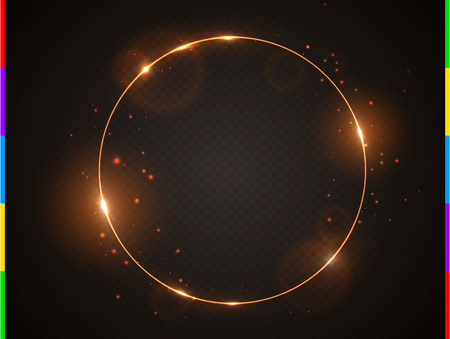 Vector golden frame with light effect flare and sparks. Shining round Christmas banner. Glow ring isolated on black transparent background. Vector illustration. Ilustração