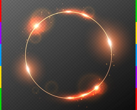 Vector red golden frame with light effect flare and sparks. Shining round Christmas banner. Glow ring isolated on dark transparent background. Vector illustration. Illustration