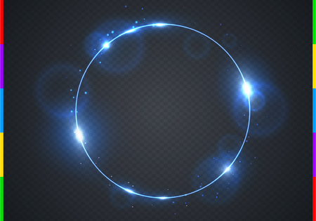 Vector electric blue frame with light effect flare and sparks. Shining round Christmas cold banner. Frozen glow ring isolated on black transparent background. Vector illustration.