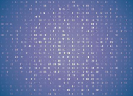hexadecimal: Violet hexadecimal code pattern.