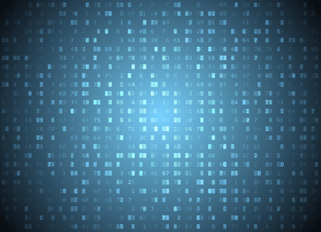 Vector hexadecimal code blue background. Big data and programming hacking, deep decryption and encryption, computer streaming byte source. Coding or Hacker concept hex-editor window Illustration
