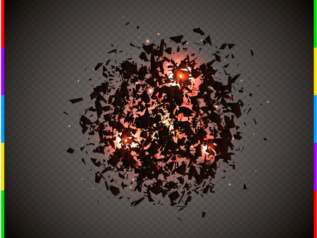 Abstract explosion of black particles with red flare and sparks.