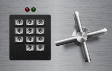 Realistic safe lock metal element on brushed metal background. Stainless steel wheel. Vector icon or design element. Keypad buttons on black plastic panel. Safety privacy protection concept