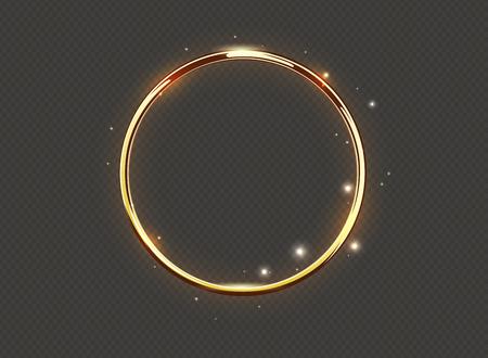 Anello di lusso astratto bagliore dorato su sfondo trasparente. Cerchi di luce vettoriale riflettori e scintille effetto luce. Cornice rotonda scintillante color oro