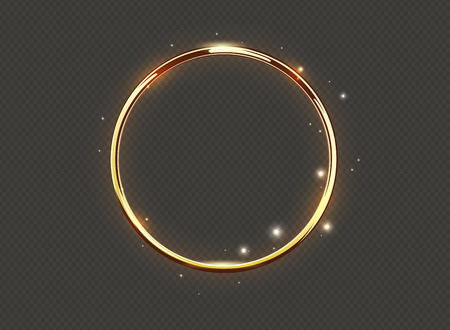 Abstract luxury golden glow ring on transparent background. Vector light circles spotlight and sparks light effect. Gold color round sparkling frame