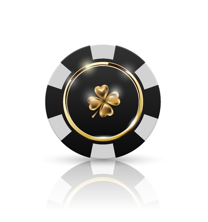 VIP poker black and white chip with golden ring and light effect vector. Black jack poker club casino four-leaf clover emblem isolated on white background with reflect Illustration