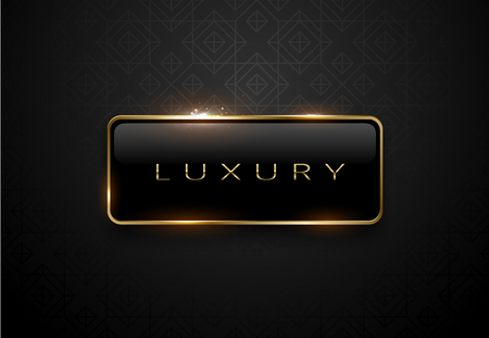 Luxury black label with golden frame sparkling on black background. Vettoriali