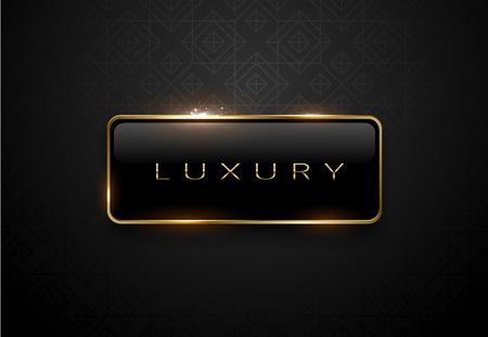 Luxury black label with golden frame sparkling on black background. Stock Illustratie