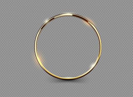 Abstract luxury golden ring on transparent background. Vector light circles spotlight light effect. Gold color round frame Çizim